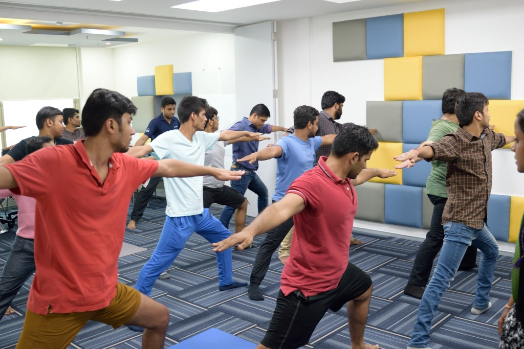 yoga at office workstations